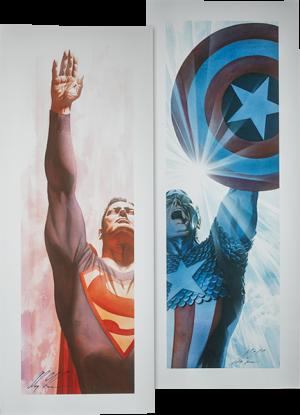 Superman Immortal and Captain America Triumphant - Unframed Art Print