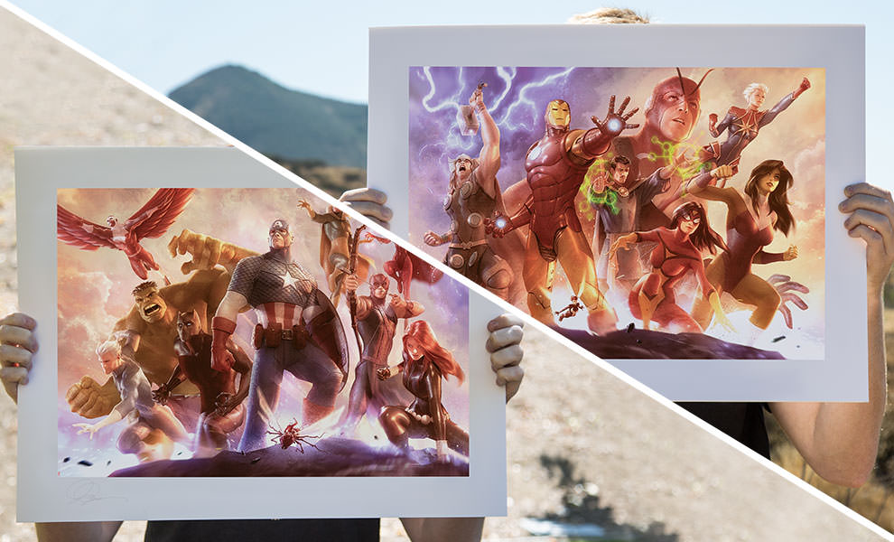 Gallery Feature Image of Avengers Team Cap and Iron Man Art Print - Click to open image gallery