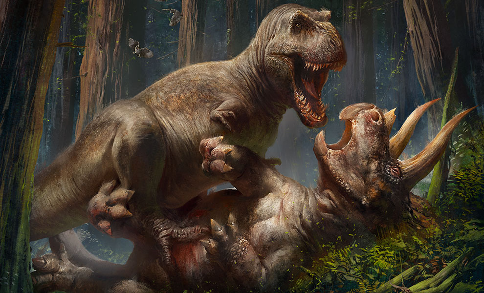 Gallery Feature Image of T-Rex vs Triceratops Art Print - Click to open image gallery