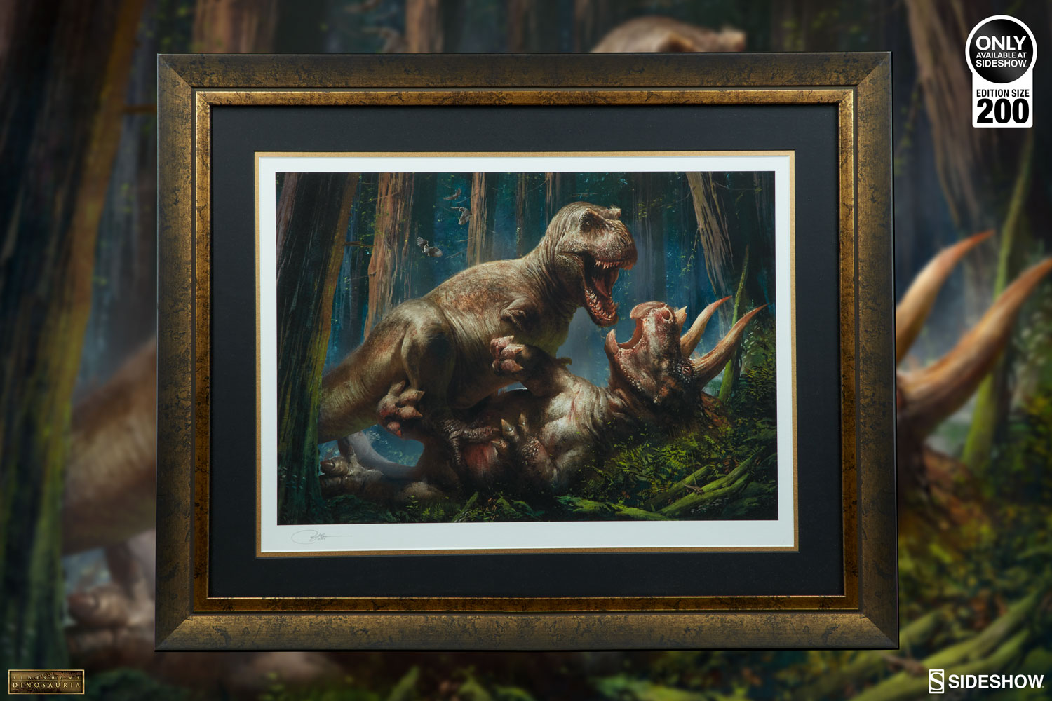 Dinosauria T-Rex vs Triceratops Art Print by Sideshow Collec