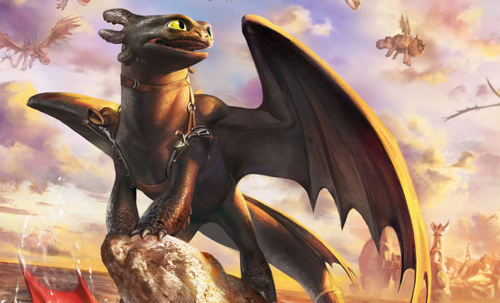Gallery Feature Image of Toothless and the Dragons of Berk Art Print - Click to open image gallery