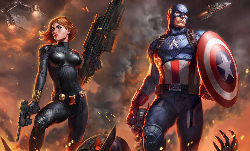Gallery Feature Image of Captain America and Black Widow Art Print - Click to open image gallery