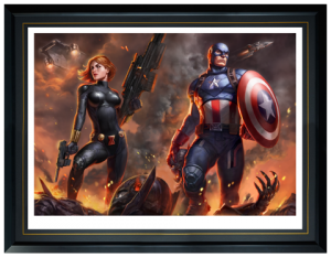 Captain America and Black Widow Art Print