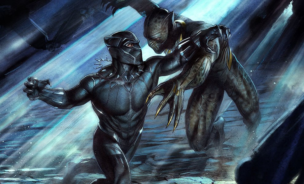 Gallery Feature Image of Black Panther vs Erik Killmonger Art Print - Click to open image gallery