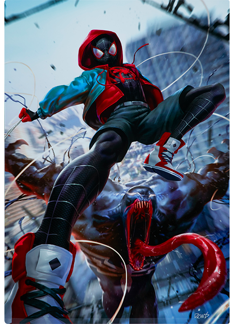 Sideshow Collectibles Ultimate Spider-Man Miles Morales HD Aluminum Metal Variant Art Print