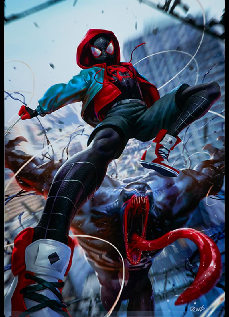 Ultimate Spider-Man Miles Morales HD Aluminum Metal Variant Art Print -