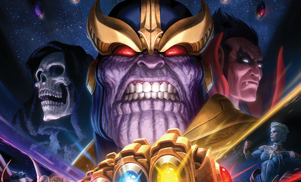 Thanos & Infinity Gauntlet Art Print feature image