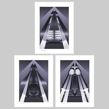 Batmobile Set Art Print