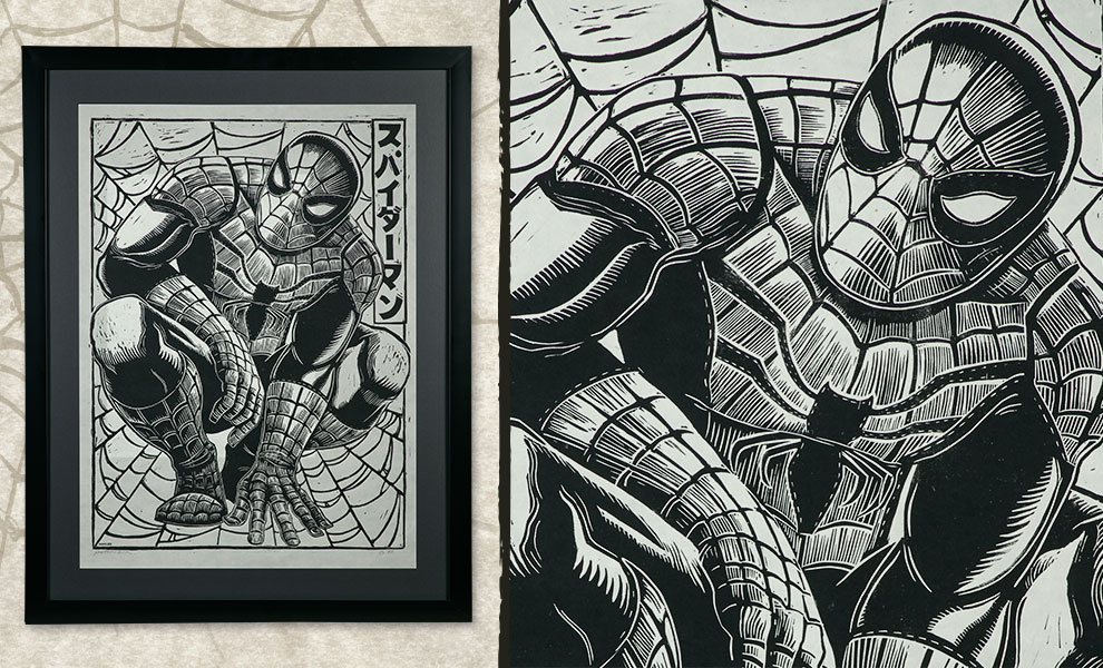 Gallery Feature Image of Spider-Man Linocut on Lokta Paper Art Print - Click to open image gallery