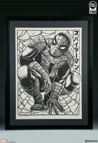 Gallery Image of Spider-Man Linocut on Lokta Paper Art Print