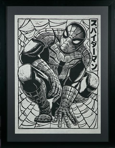 Peter Santa-Maria Spider-Man Linocut on Lokta Paper Art Print