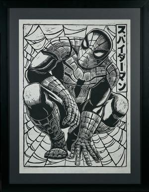 Spider-Man Linocut on Lokta Paper Art Print