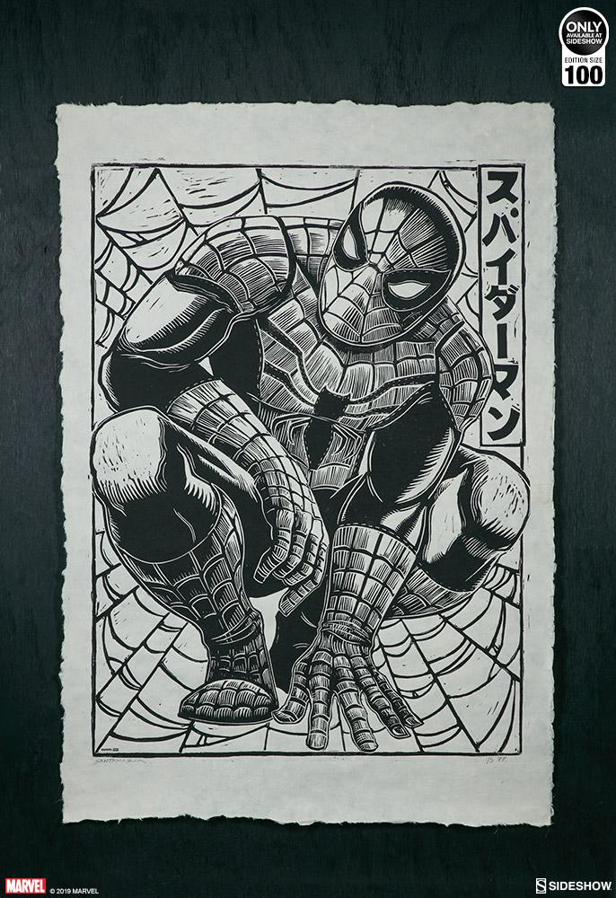 Spider-Man Linocut on Lokta Paper Fine Art Print by Peter Santa-Maria
