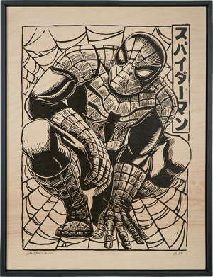 Spider-Man Print on Wood Variant Art Print