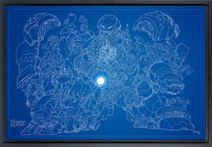 Hulkbuster Blueprint Variant Art Print