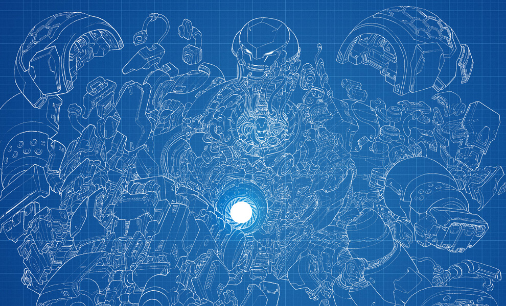 Gallery Feature Image of Hulkbuster Blueprint Variant Art Print - Click to open image gallery