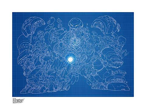 Sideshow Collectibles Hulkbuster Blueprint Variant Art Print