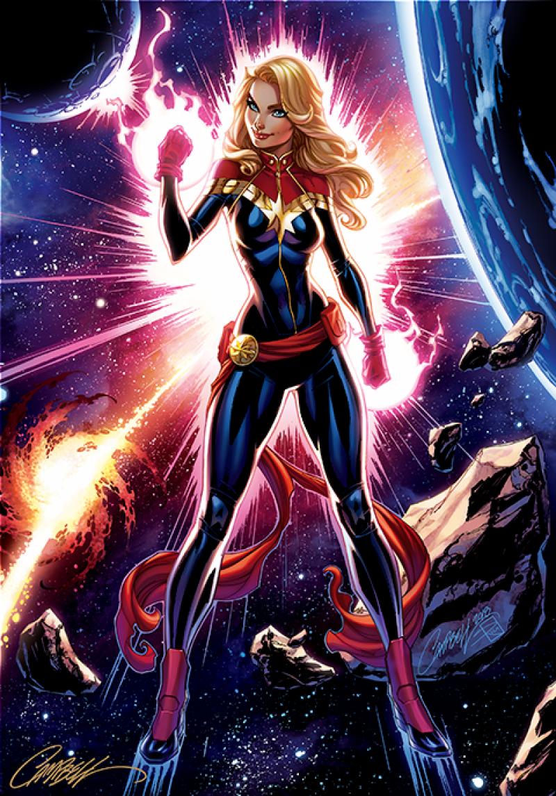Marvel Captain Marvel Fine Art Print by J Scott Campbell ...
