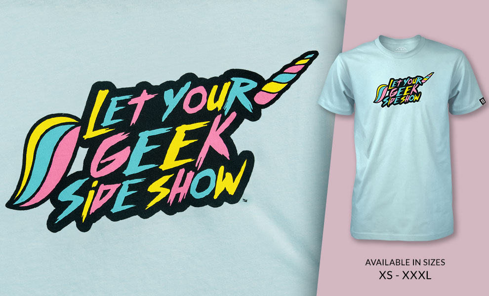 Gallery Feature Image of Unicorn Let your Geek Sideshow T-shirt Apparel - Click to open image gallery