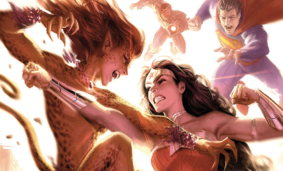 Gallery Feature Image of Justice League: Wonder Woman vs Cheetah Art Print - Click to open image gallery
