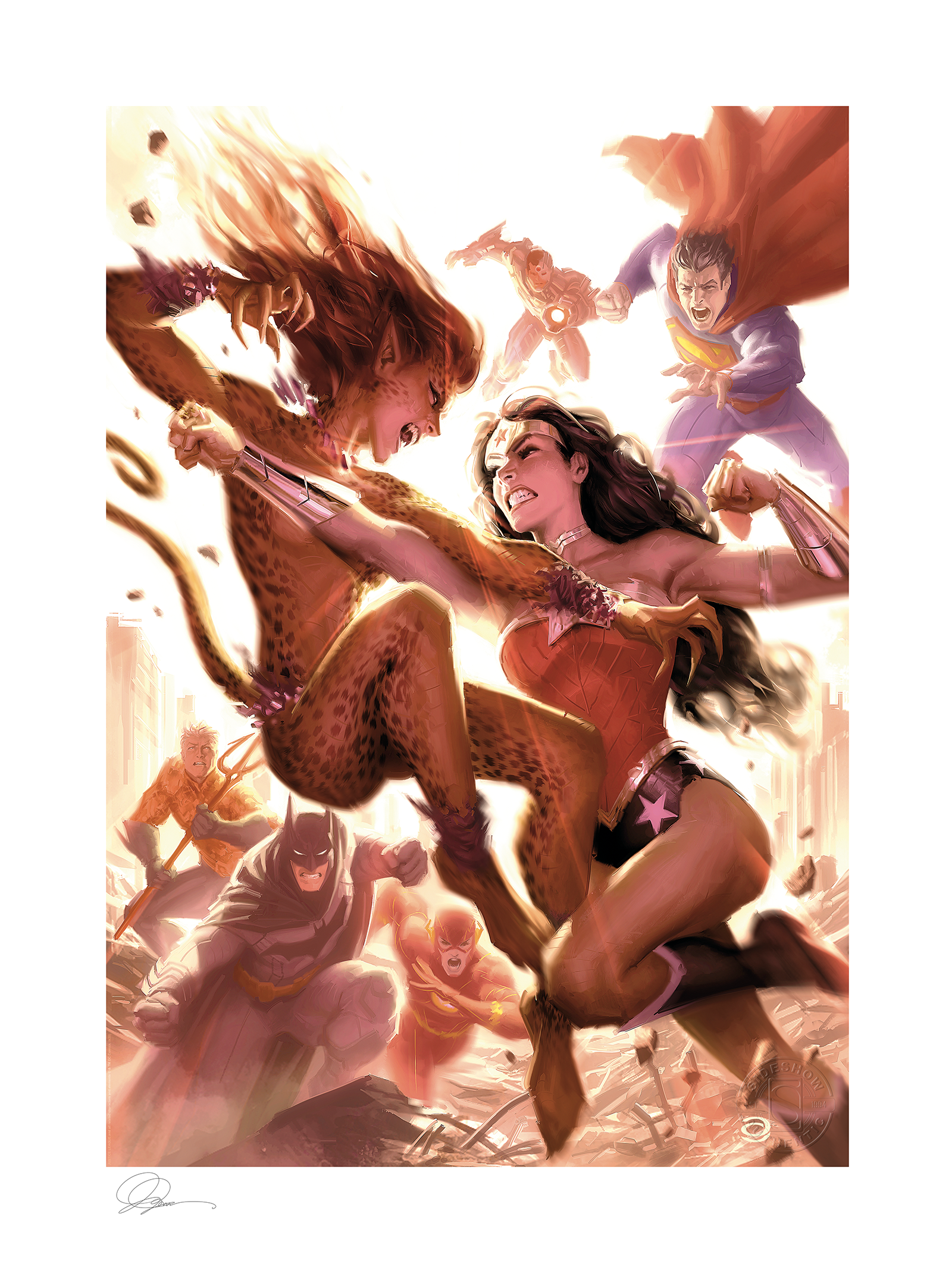 Sideshow Collectibles Justice League: Wonder Woman vs Cheetah Art Print