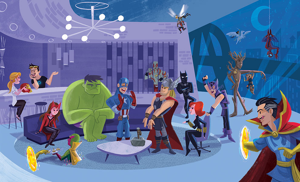 Gallery Feature Image of Party at Avengers Tower Art Print - Click to open image gallery