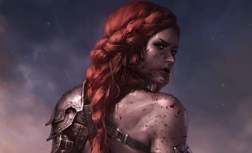 Gallery Feature Image of Red Sonja: Birth of the She-Devil (Post-Battle Bloody Variant) Art Print - Click to open image gallery