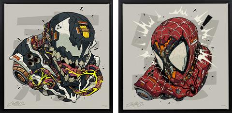 Sideshow Collectibles Spider-Man & Venom MECHASOUL Set Art Print