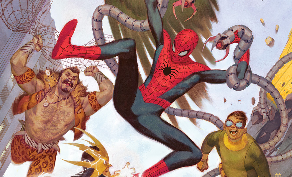 Gallery Feature Image of Spider-Man vs Sinister Six Art Print - Click to open image gallery
