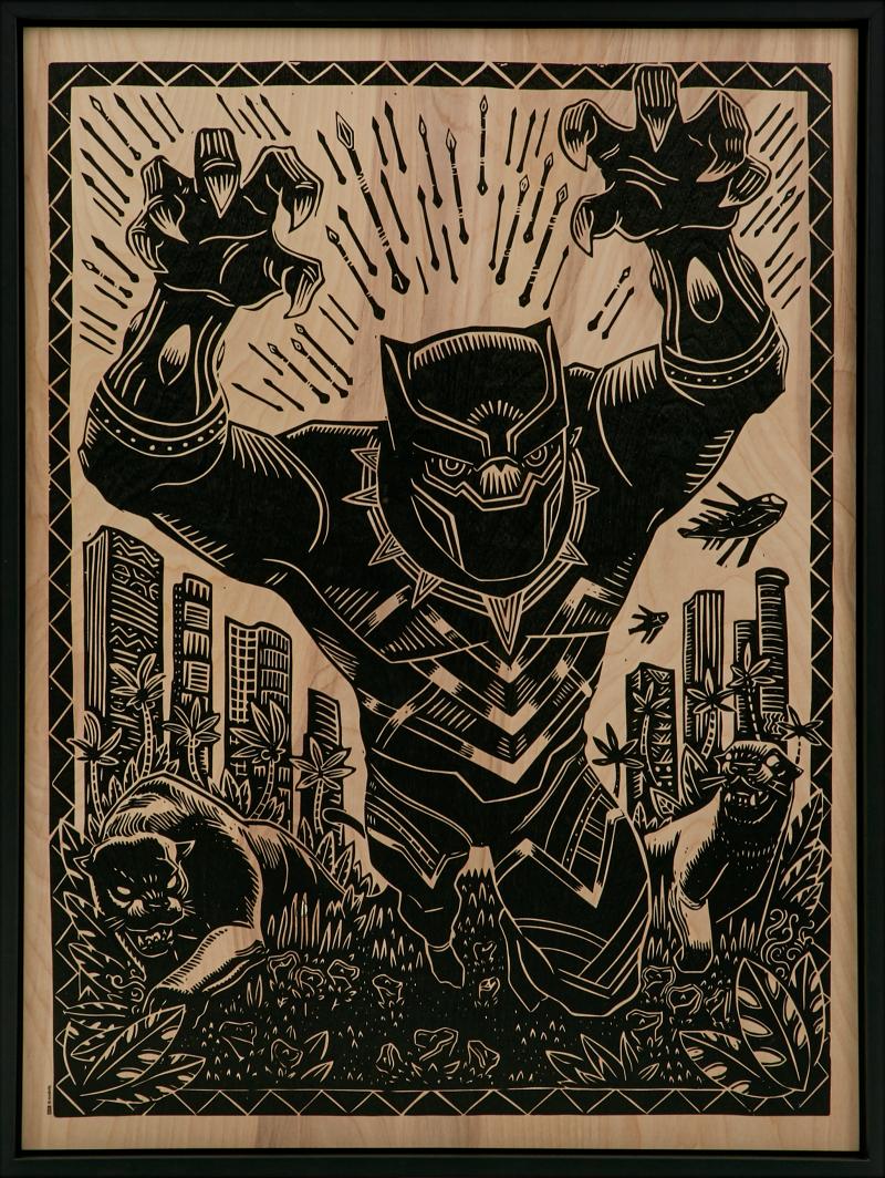 Black Panther Print on Wood Variant Art Print -