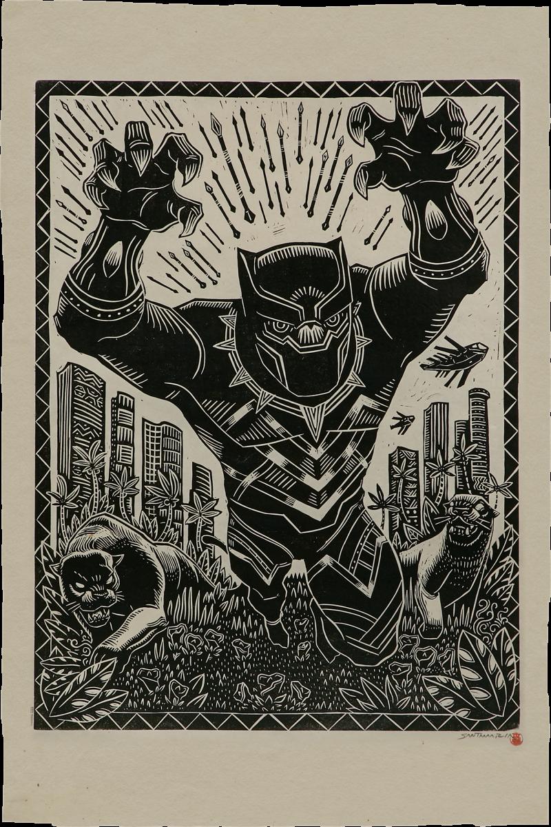 Black Panther Linocut on Lokta Paper Art Print -