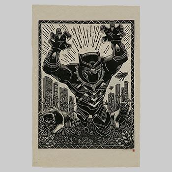 Black Panther Linocut on Lokta Paper Art Print