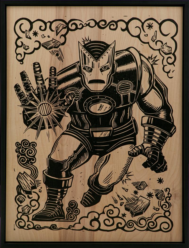 Iron Man Print on Wood Variant Art Print -