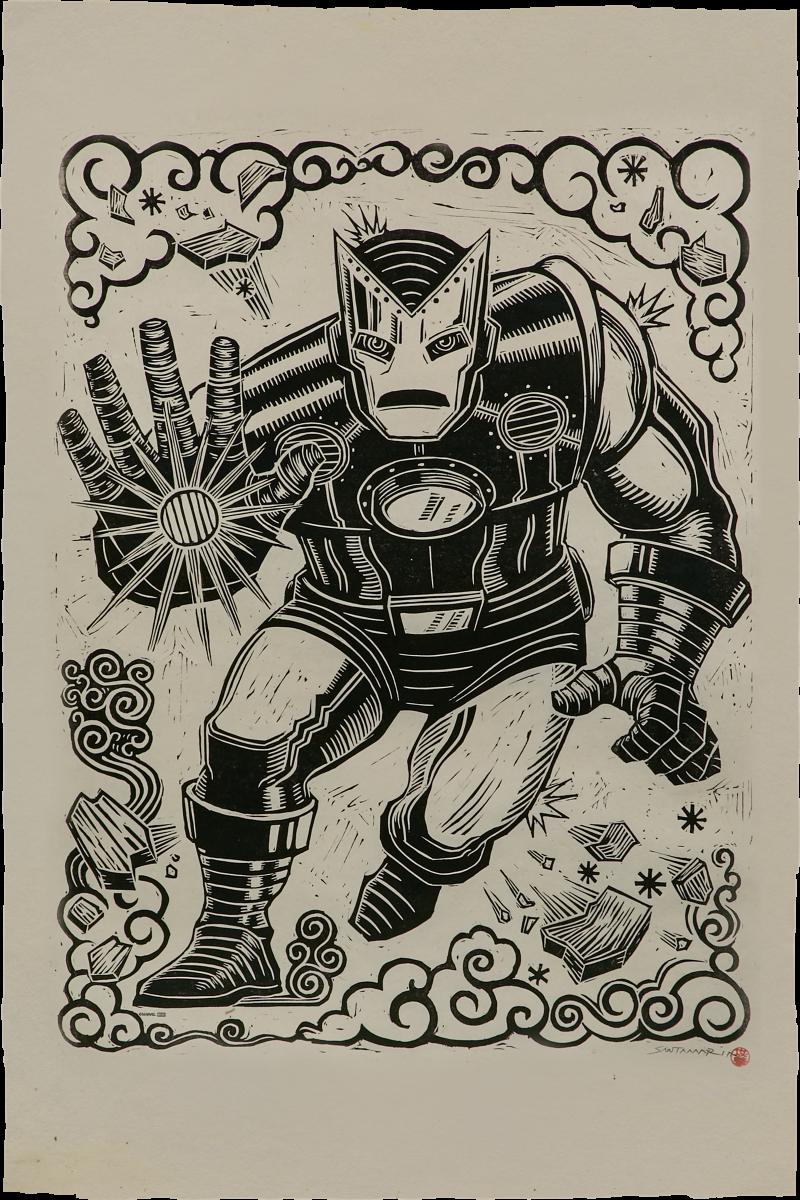 Iron Man Linocut on Lokta Paper Art Print -