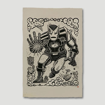 Iron Man Linocut on Lokta Paper Art Print
