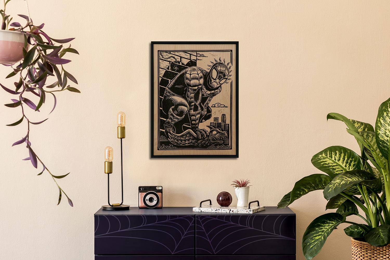 Spider-Man Linocut on Lokta Paper Art Print feature image