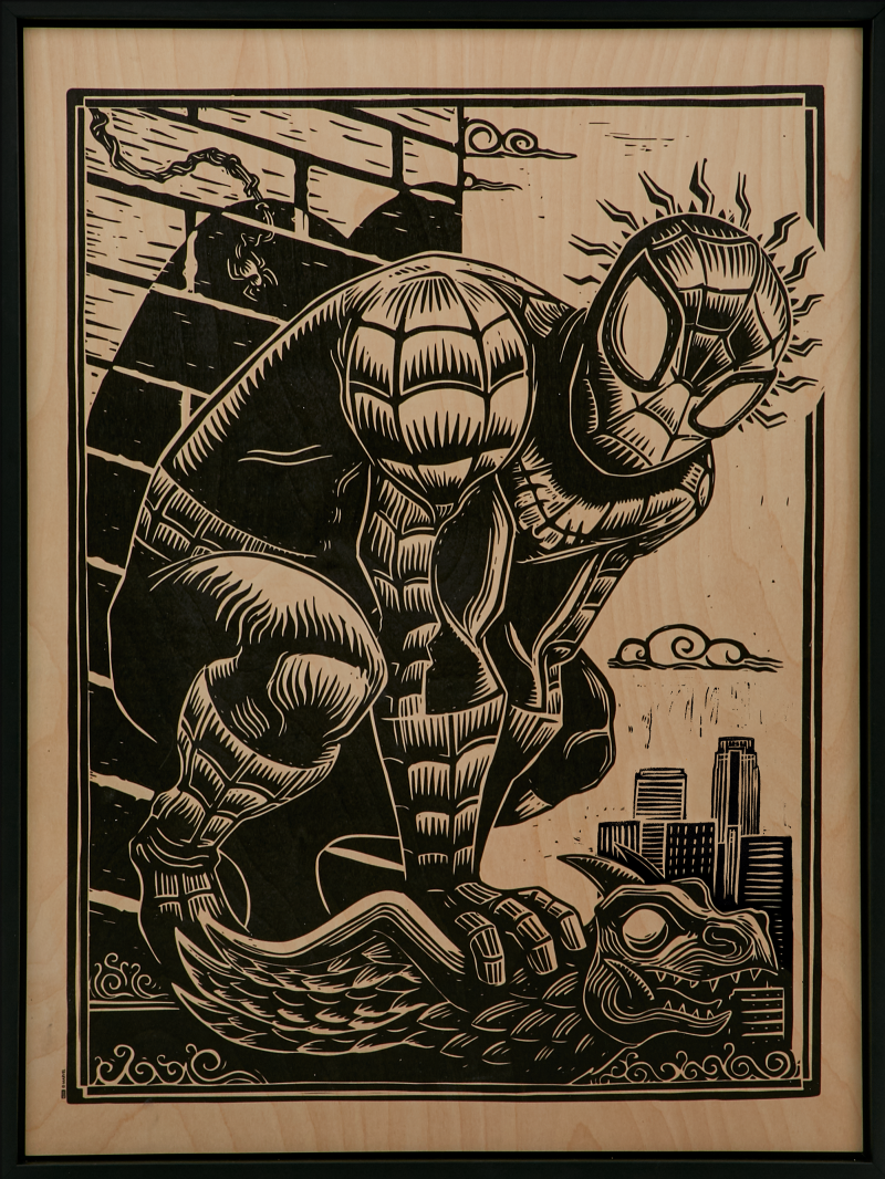 Spider-Man Print on Wood Variant Art Print -