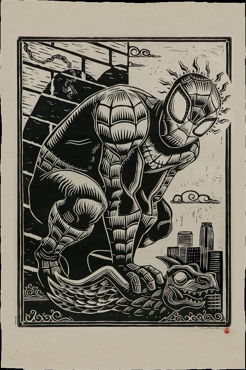 Spider-Man Linocut on Lokta Paper Art Print -
