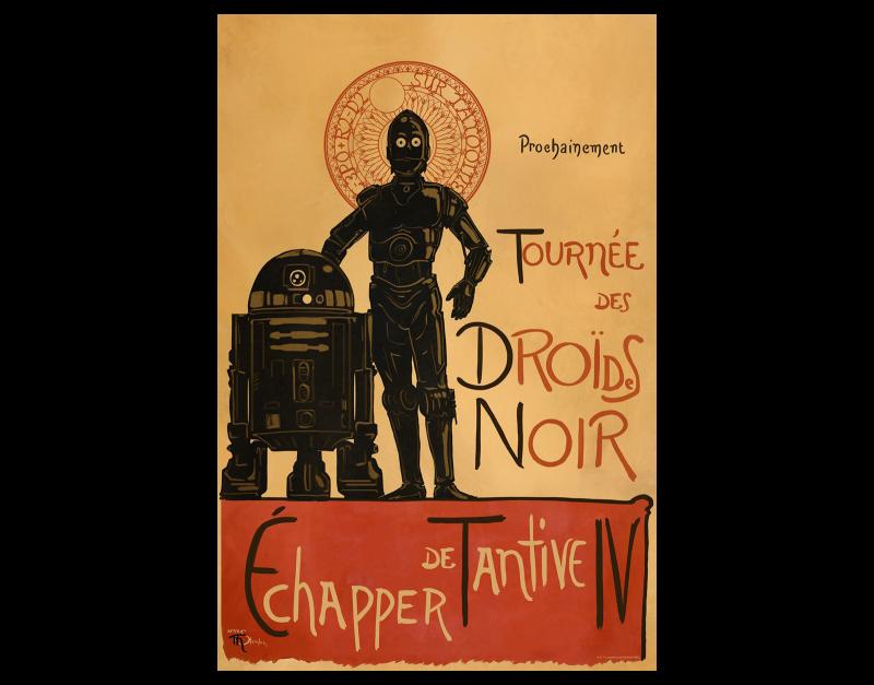 Droides Noir Art Print - Lithograph