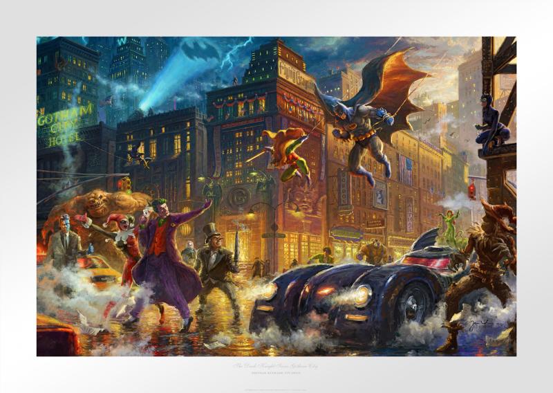 The Dark Knight Saves Gotham City Art Print - 18 x 27 Limited Edition Paper by Thomas Kinkade Studios