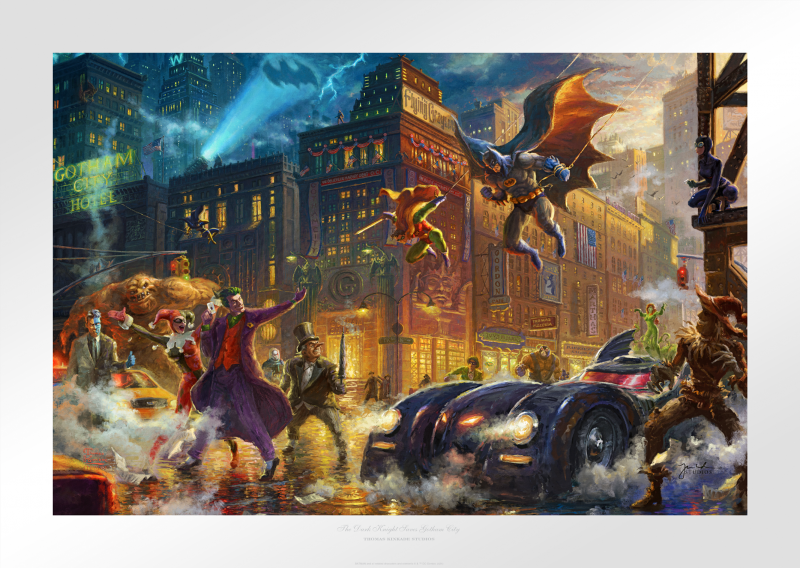 The Dark Knight Saves Gotham City Art Print - 12 x 18 Limited Edition Paper by Thomas Kinkade Studios