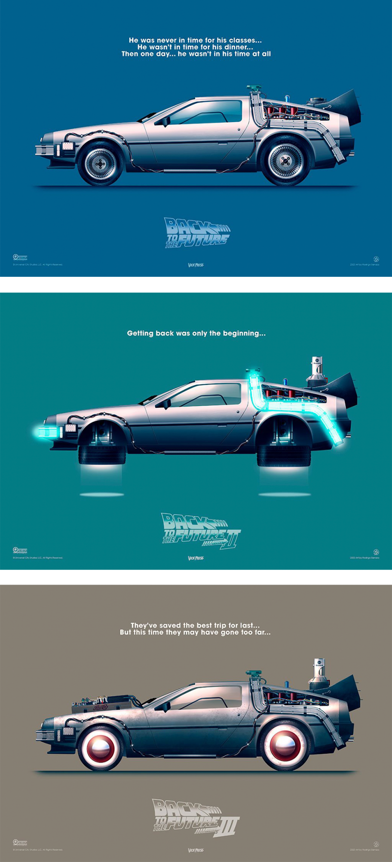 Back to the Future – Delorean Set Art Print - Unframed Lithographs - 16.5 x 11.7