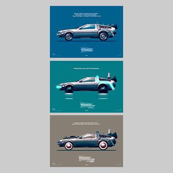 Back to the Future – Delorean Set Art Print