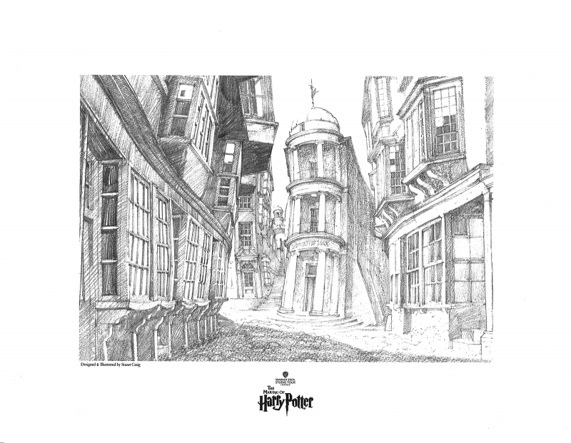 View of Diagon Alley Art Print - Giclee on Fine Art Paper