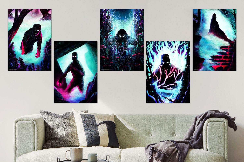 Universal Monsters Set Art Print feature image