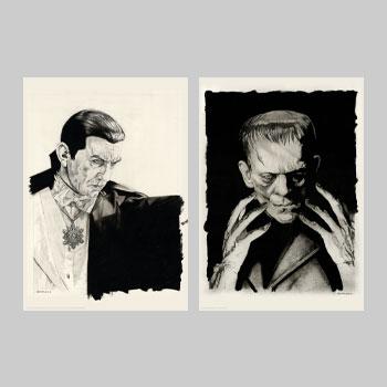 Dracula and Frankenstein Original Portrait Set Art Print