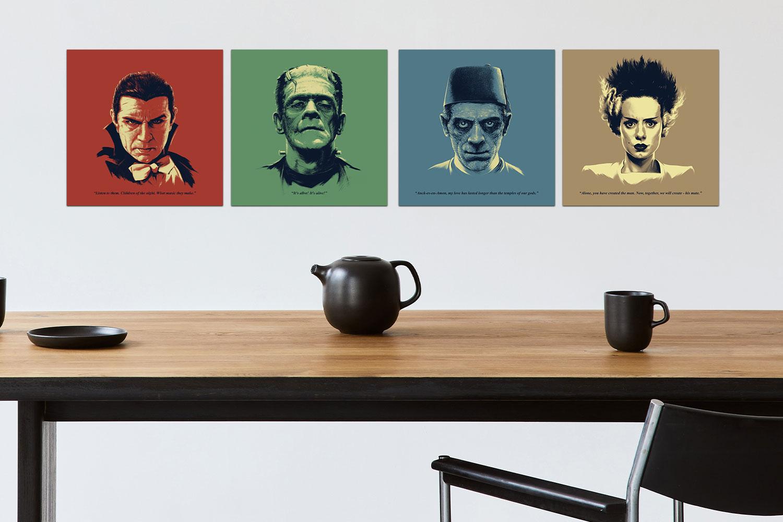 Universal Monsters Featuring Bela Lugosi as Dracula Headshots Art Print feature image