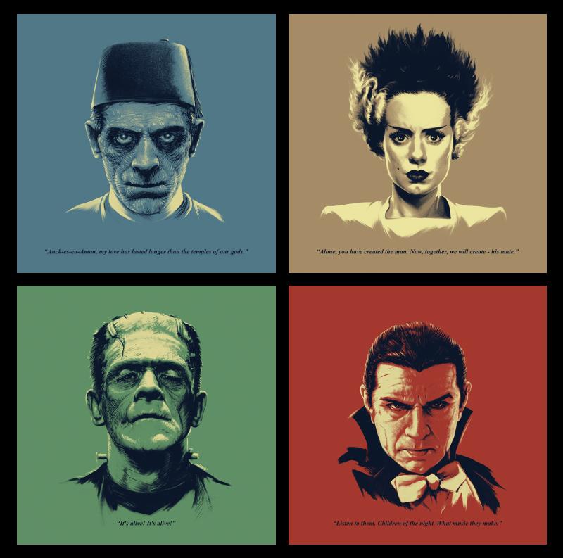 Universal Monsters Featuring Bela Lugosi as Dracula Headshots Art Print - Series 1 Set - Unframed 5 x 5