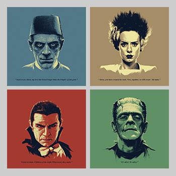 Universal Monsters Featuring Bela Lugosi as Dracula Headshots Art Print