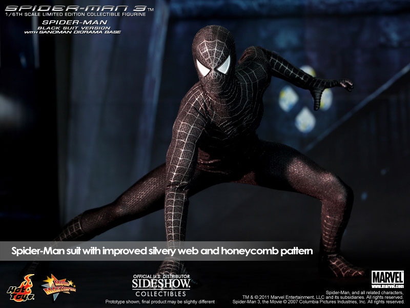 Marvel Spider-Man Black Suit Version Sixth Scale Figure by Hot Toys ... 1e6e51725ce9
